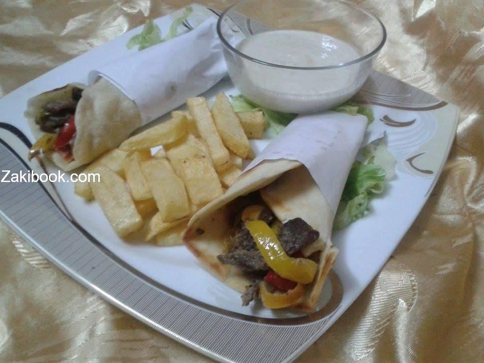 شاورما اللحم بطريقة سهلة وشهية