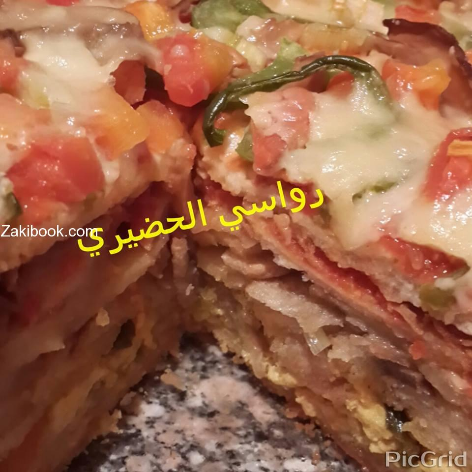 تورتة البيتزا طبقات من البيتزا السايحة ممم