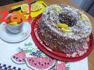 كيكة الليمون بالقشطة تعالو شوفو ارتفاها و مخبوزة عالصوبا كمان