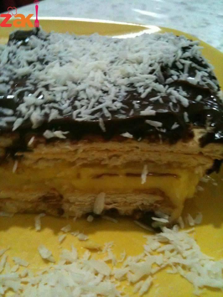 طريقة عمل طبقات الكاسترد مع الكاكاو و البسكويت