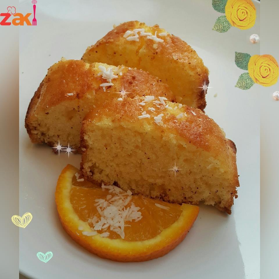 طريقة كيك البرتقال وجوز الهند البسيط