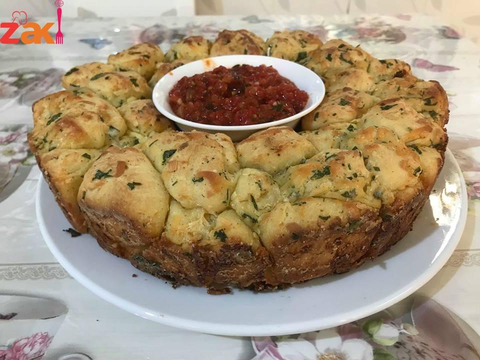 طريقة عمل خبز القرد بالثوم و الجبن