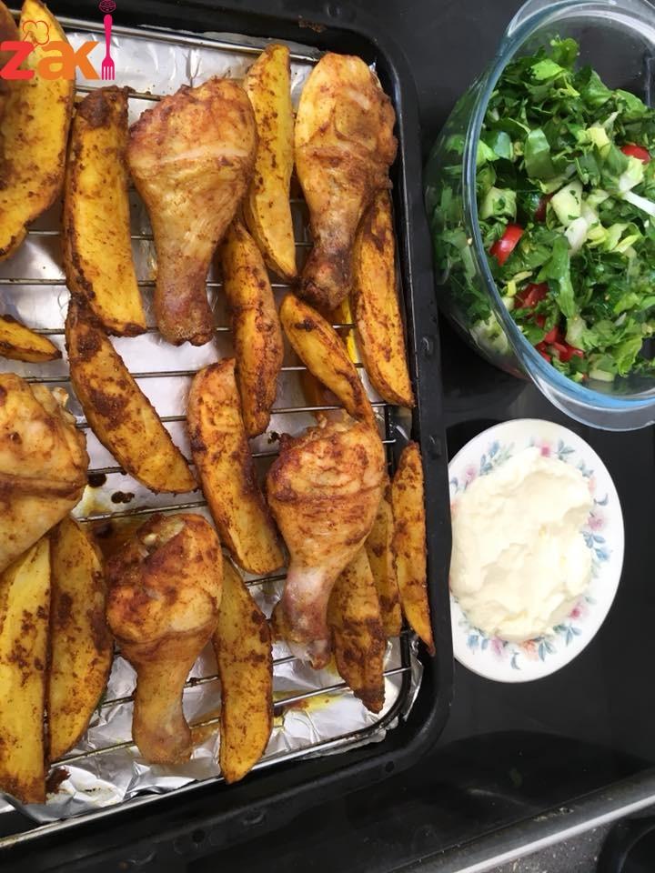 طريقة عمل بطاطا مع قطع دبوس الدجاج