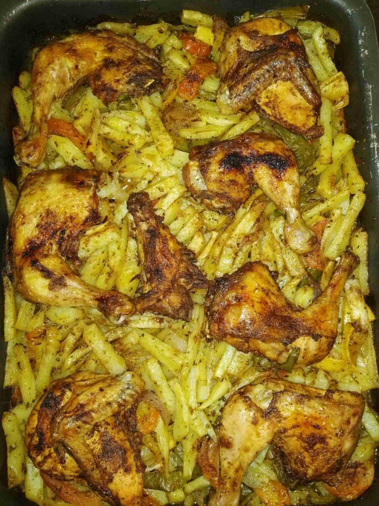 🥔🥔صنيه بطاطا بالدجاج المحمر🍗🍗