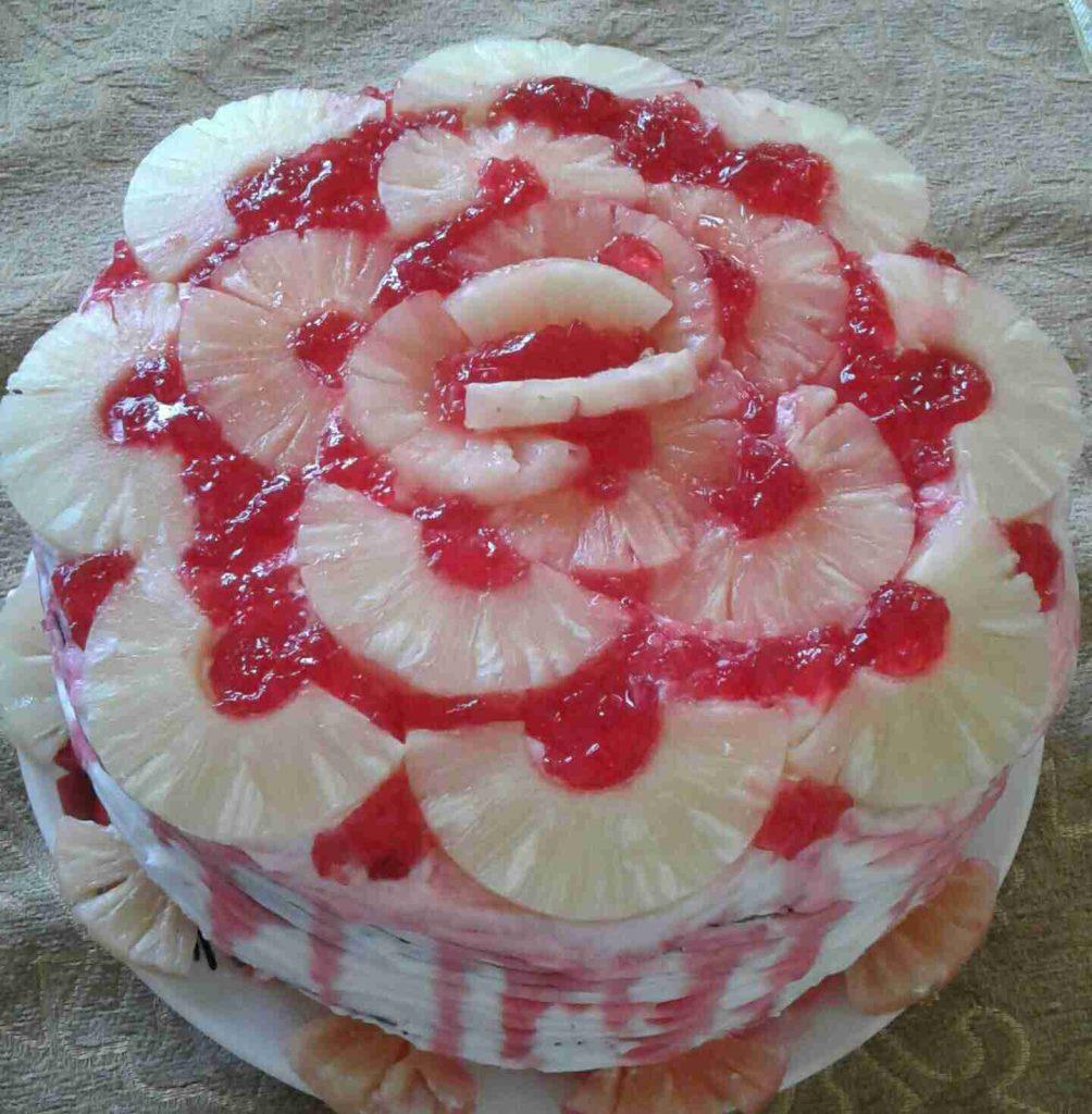 الكاتو الإسفنجي بنكهة الأناناس ملكة الحلويات الشعبية