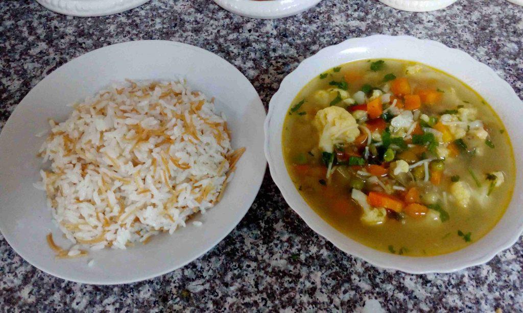 صلصة خضار مع ارز