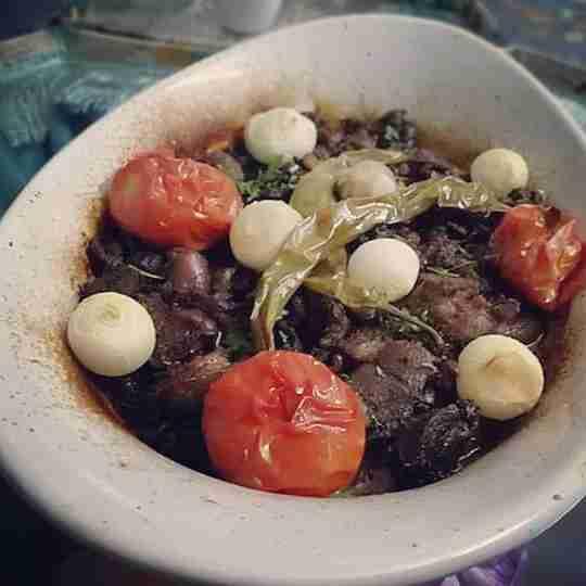 طبق لحمه مشوي بالفرن مع الخضار